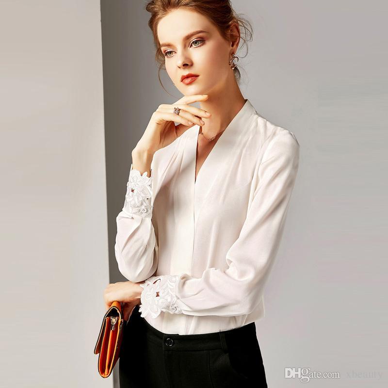 e6bd6650f9a Compre 2019 100% Camisas De Pasarela De Seda Pura Para Mujeres ...