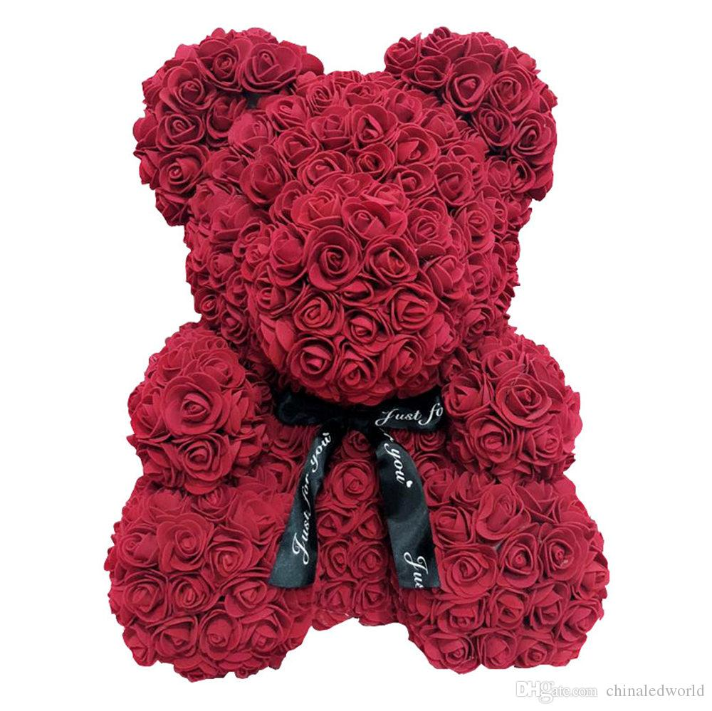 Larger Size 40cm Valentine Day Gift Artificial Roses Bear Wedding