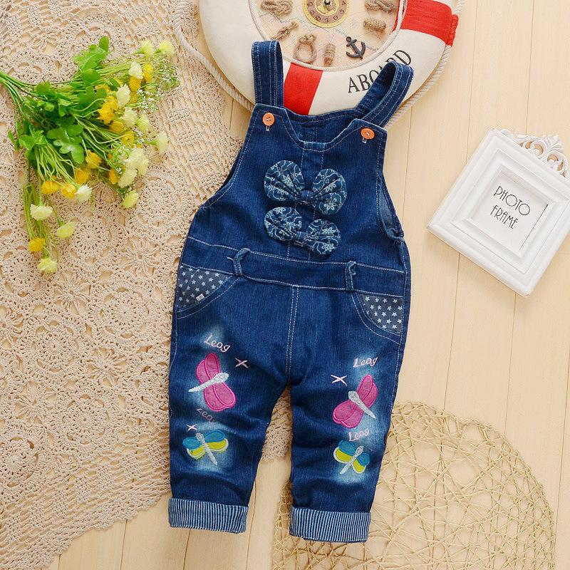 good quality 2019 baby girls pants bowknot overalls for infant girls jumpsuit baby denim jeans clothes spring autumn trousers