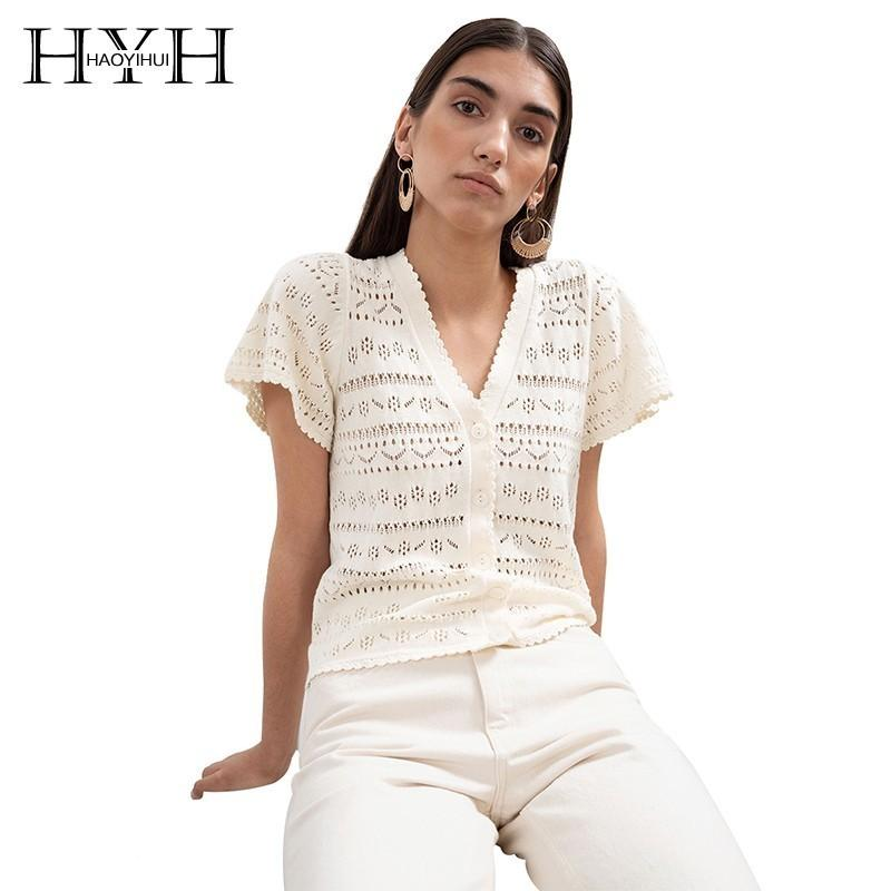 HYH Haoyihui donne bohemien beach style 2019 nuova estate open stitch moda solido Breaf Top sottile sexy Hollow con scollo av maglione