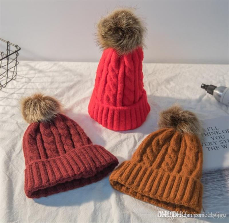 9a56d224e52 2018 New Mom And Baby Hat with Pompon Warm Raccoon Fur Bobble Beanie ...