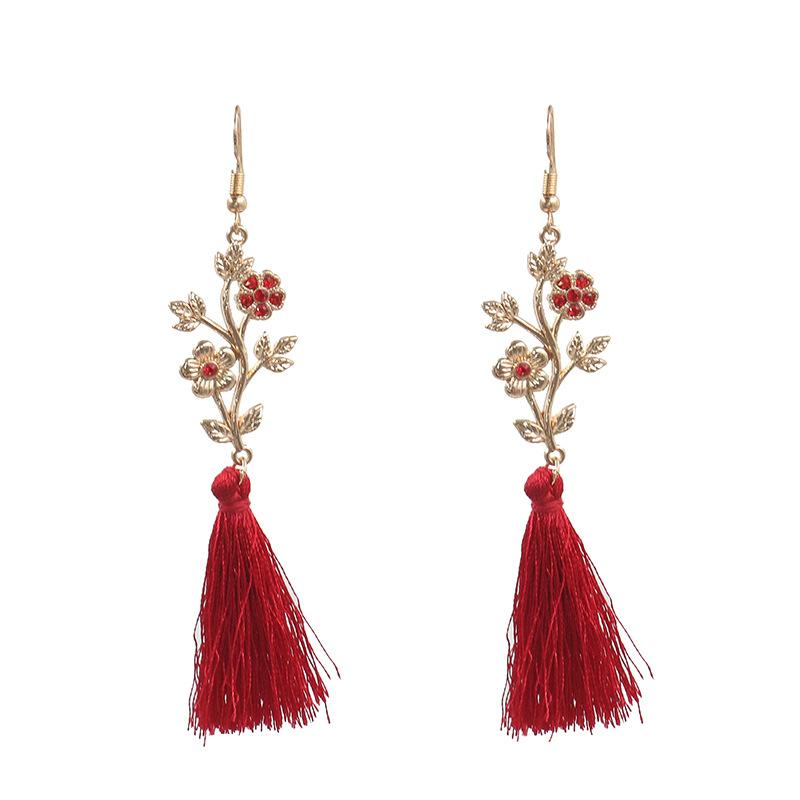 Flower Vine Red Diamond Long Tassel Earring Dangle 2019 New Fashion Fringe Earrings Jewelry For Women Wedding Temperament Eardrop Gifts