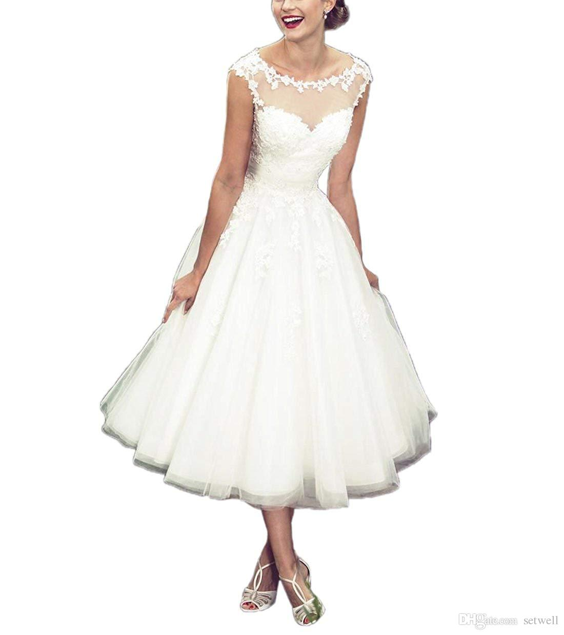 904a2ffb1c3a Discount Setwell 2019 White Ivory Scoop Sheer Neck A Line Wedding Dress  Sleeveless Knee Length Pleated Lace Tulle Bridal Gown Wedding Dresses  London Wedding ...