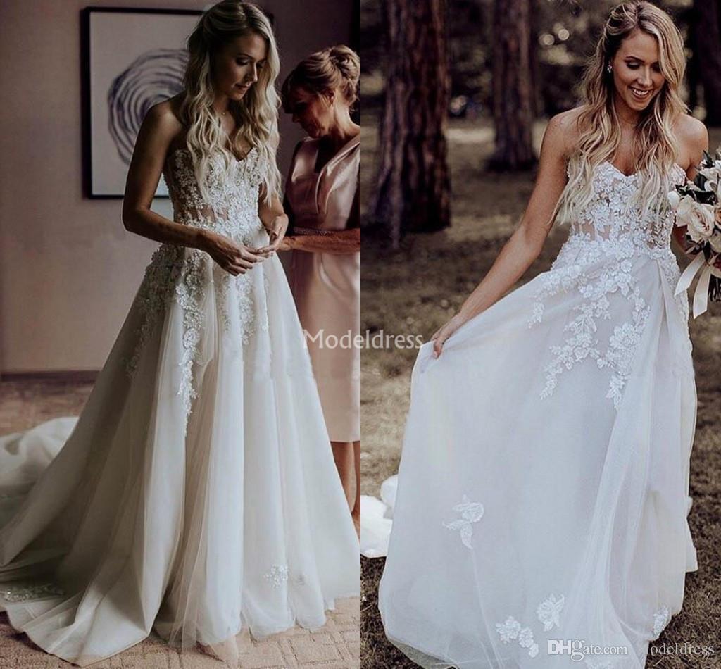 444241f083 Charming Boho Wedding Dresses Flower Appliques Sweep Train Backless Country  Church Beach Bridal Gowns Garden Chapel Vestidoe De Noiva Custom