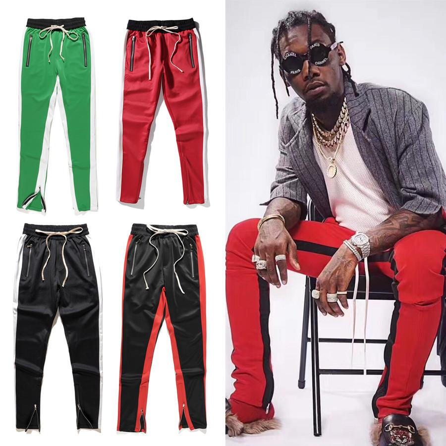 Wholesale free shipping FOG zipper high street panelled long pants hiphop track streetwear sweatpant jogger trousers