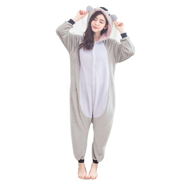 2019 Cute Koala Onesie Flannel One Piece Pajamas Koalas Kigurumi Animal  Kangaroo Sleepwear Adult Women For Halloween Cosplay Party From Home5 421844d0d