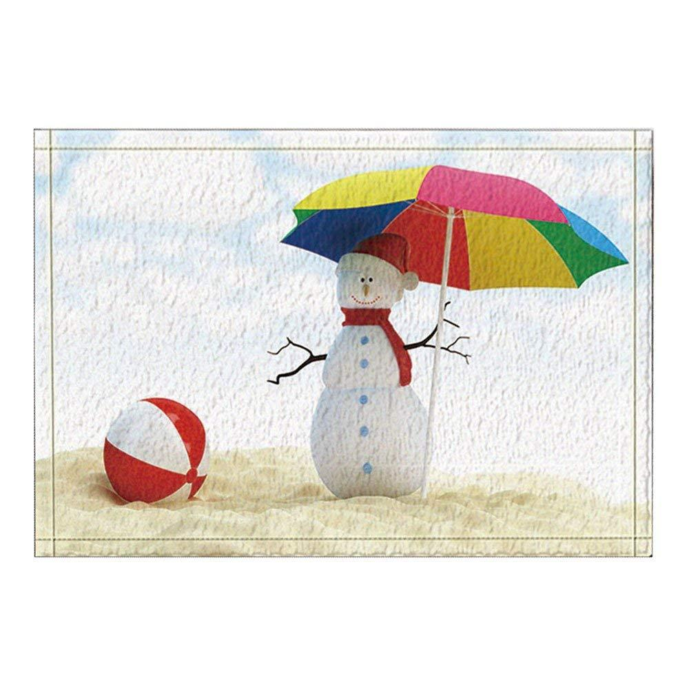 Christmas Decor Snow With Umbrella On Beach Bath Rugs Non Slip