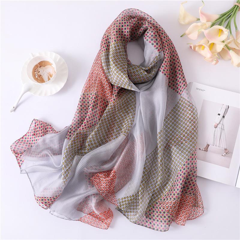 2019 New Women s Silk Scarf Soft Plaid Print Scarves Large Shawls ... 0e82a841baf