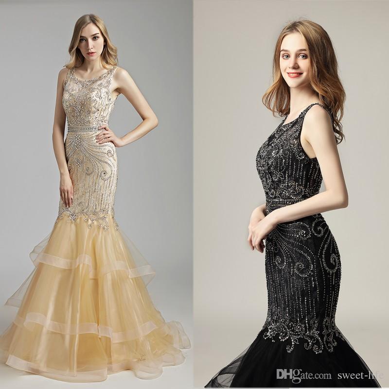 1976b6cbb7b 2019 Luxury Black Champagne Mermaid Rhinestones Beads Sash Lace Prom Party  Sleeveless Dresses Dubai Show Formal Occasion Dress Evening Gown White  Evening ...