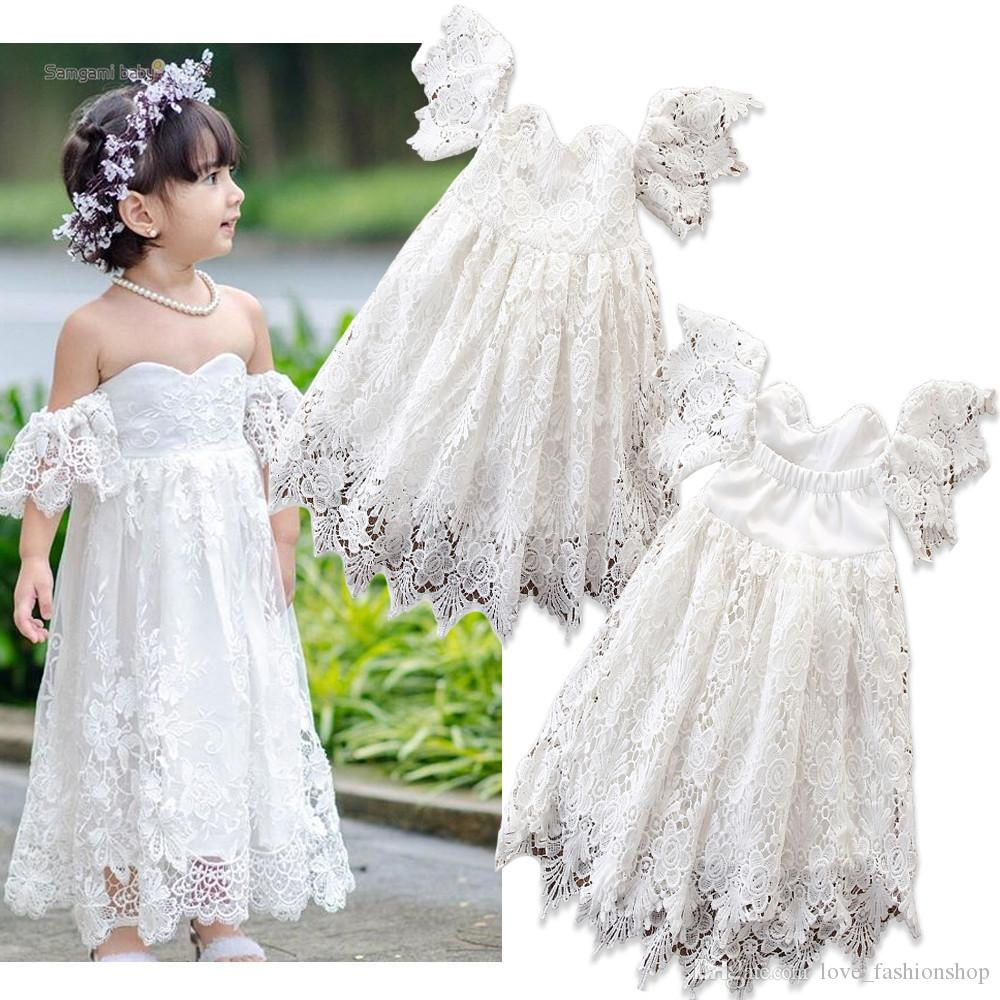 Retail Baby girl dresses one-shoulder hollow lace flower girl wedding dresses Kids designer clothes girls ruffle floral princess prom Dress