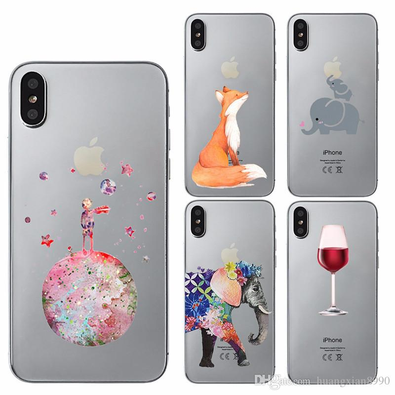 for iphone 8 plus xs max cases cartoon cute animals flower painted