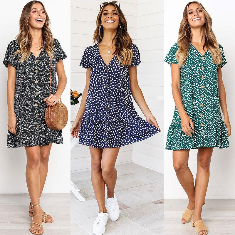 00aee2f45709 Fast Selling Amazon Explosive Money Button Dress 2019 Summer Explosive  Money Raindrop Printin Dresses For Cocktail Party White Sundresses For  Women From ...