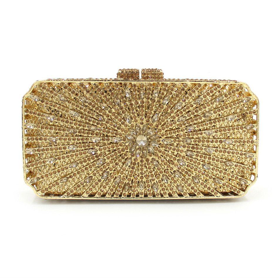 107201dd05 Gold Women S Fashion Crystal Evening Bag Women Bag Wedding Metal Minaudiere  Clutch Handbags And Purses Designer Diamond Wedding Box Clutches Black  Handbag ...
