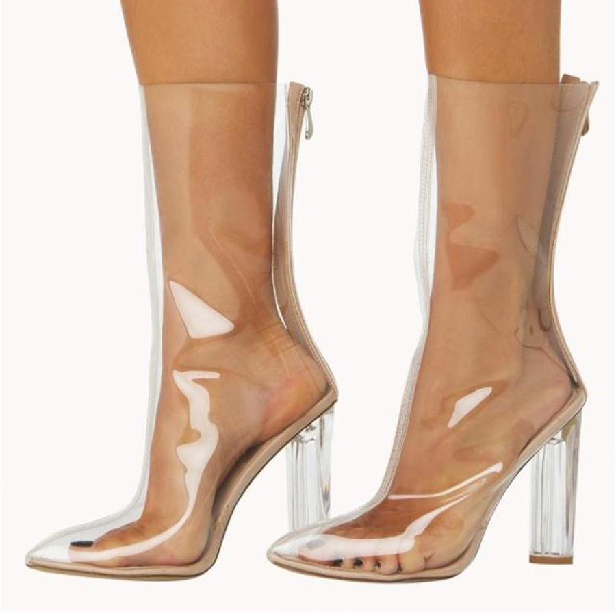 PVC cristal talon vente effacer bout transparent bottes d'été Hot VANGULL pointu femmes bottines 2018 chaussures talons femmes nouvelles RAj3q4Lc5