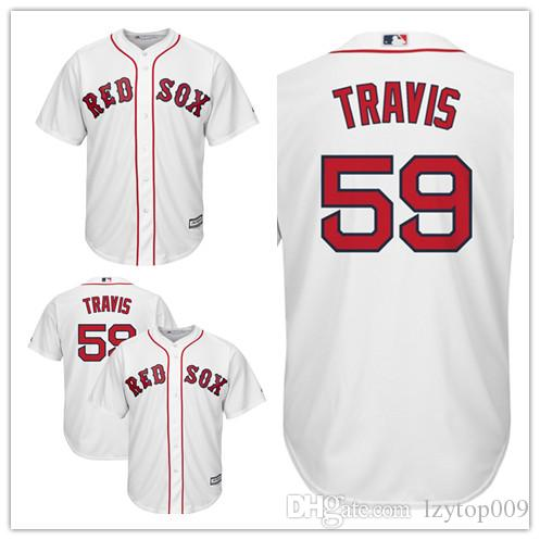 promo code 14a09 a7a07 Men's Red Sox 59 Sam Travis Majestic Home White Cool Base Replica Player  Boston Jersey