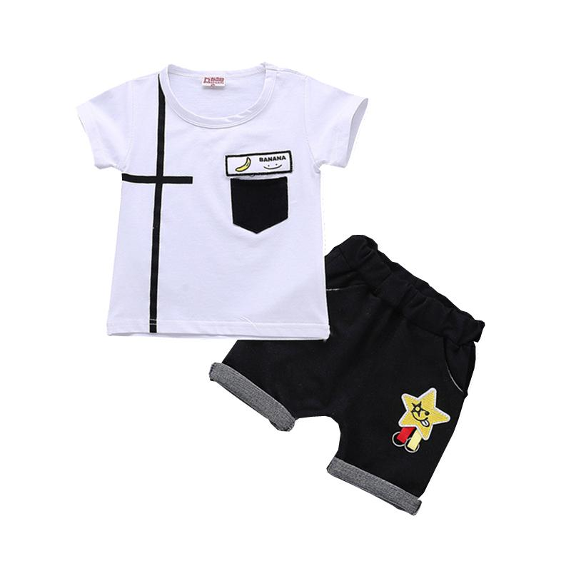 fd74f2494825b7 2019 Summer Children Boys Girls Leisure Clothing Sets Baby Cartoon Banana T  Shirt Shorts  Sets Fashion Kids Cotton Tracksuits From Textgoods09