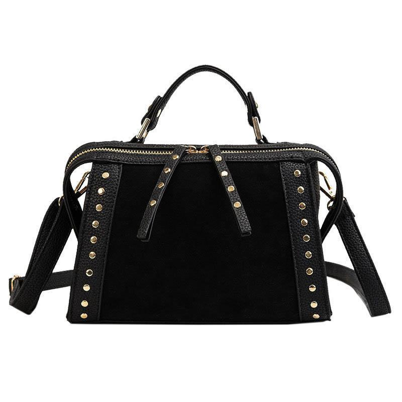 good quality 2019 Rivet Chain Bags Pu Leather Suede Cross Body Bags For Women Large Hand Bag Leopard Print Shoulder Handbags Bag