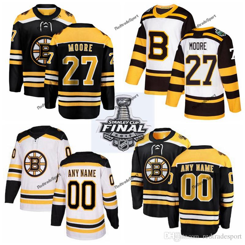 outlet store aa571 15759 2019 Stanley Cup Final Boston Bruins John Moore Hockey Jerseys Cheap Mens  #27 John Moore Black Stitched Shirts Custom Name Custom Number