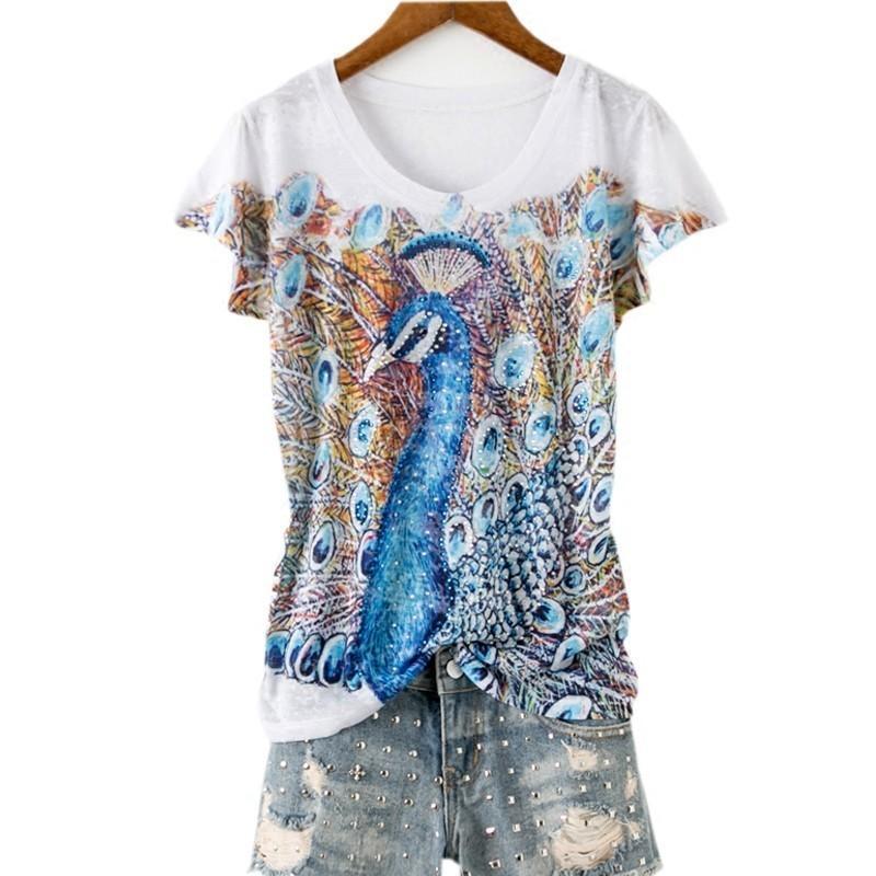 c78a9a10392 Double Peacock Print Slim T Shirt Women Short Sleeve Fashion Hot Drilling  Tops 2019 New Arrivals Nerd T Shirts Design Shirt From Erzhang, $43.11   DHgate.Com