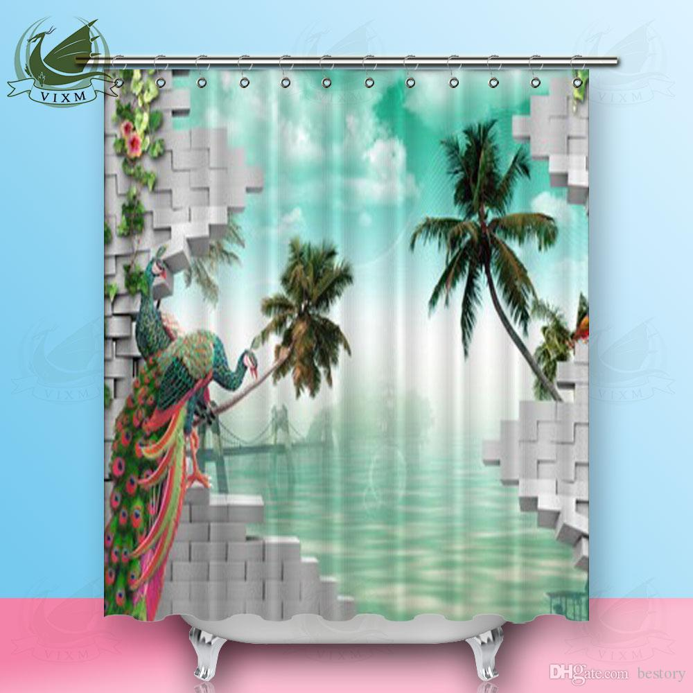 2019 Vixm 3D Background Gray Brick Peacock Palm Tree Water Shower Curtains Polyester Fabric For Home Decor From Bestory 1665