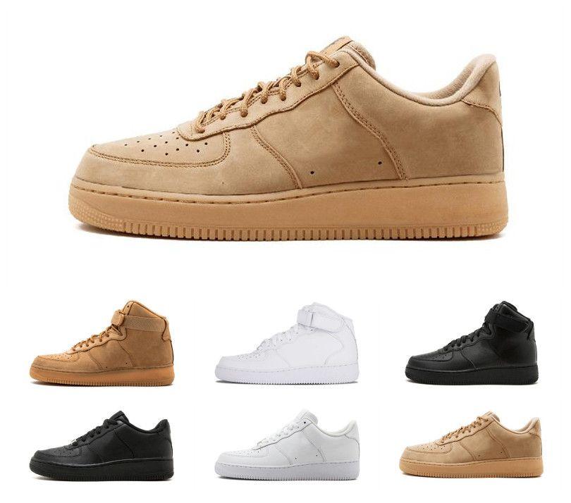 nike air force Clásico Alto bajo Uno Blanco Negro Deportes de trigo 1 Zapatillas de mujer Dunk Hombres mujer Zapatillas causales Zapatos Skate 36 45