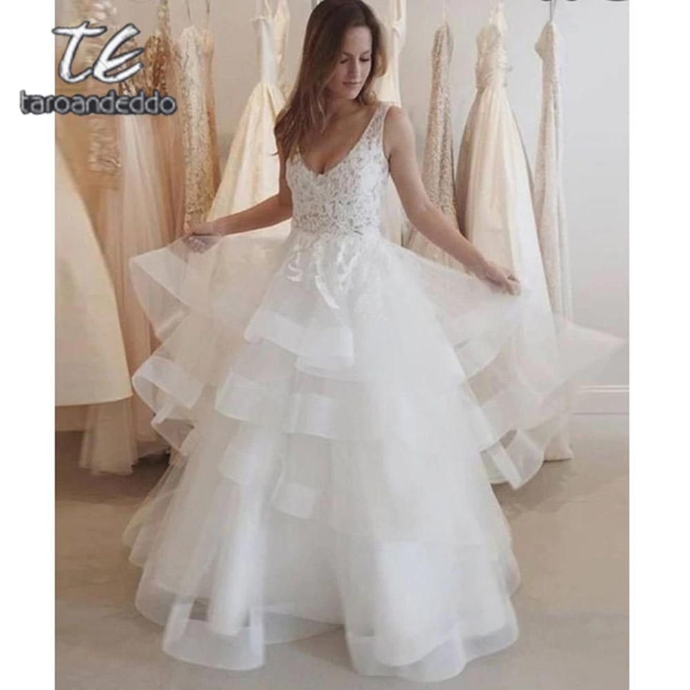 V Neck Wedding Dresses Tiered A Line Open Back Sleeveless White