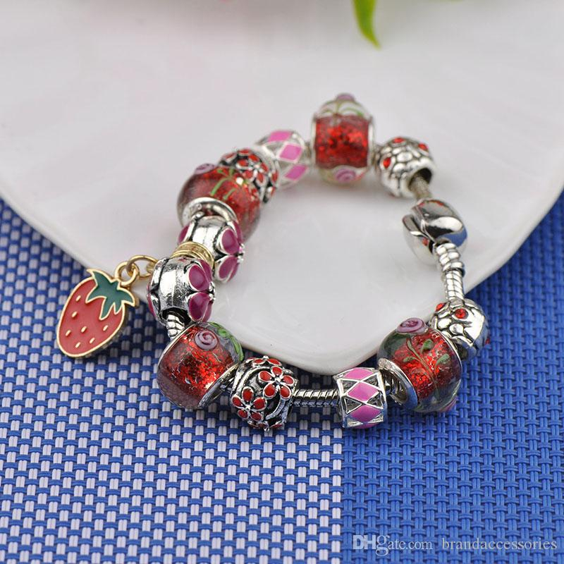 Cute Charm Bracelets Fit Pandora Red Murano Glass Crystal Beads Bangles Strawberry Gold Pendant Silver Women Brand Jewelry Birthday Gift P59