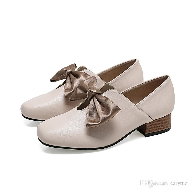 110ce3bd036 New Popular Leather Shoes Bow Low Chunky Heel Round Toe Slip On Pumps  Casual shoes Women spring Autumn Shoes