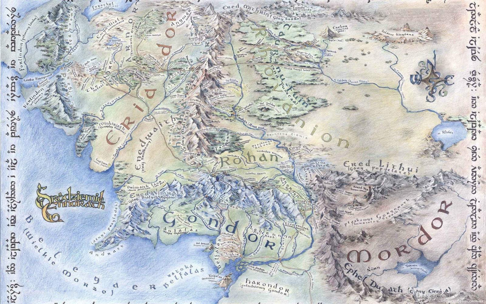 Middle Earth Map Art Silk Print Poster 24x36inch60x90cm 083 Uk 2019