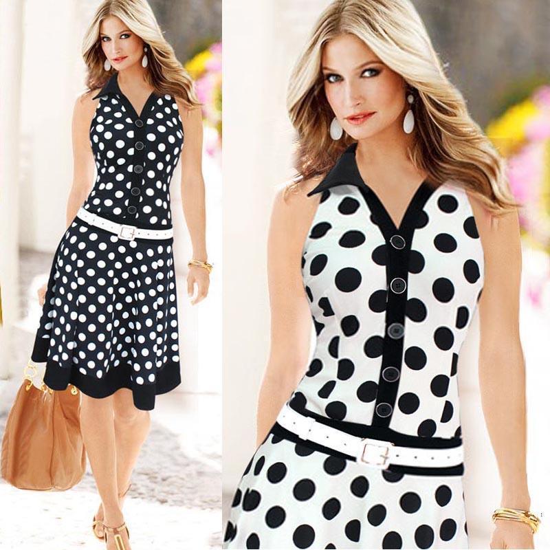e146ac4990d 2019 Big Size Summer Dress Women Fashion Polka Dot Sleeveless V Neck Print  Dress Ladies Black White Dresses Feminine Plus Size Women In Long Dresses  Black ...