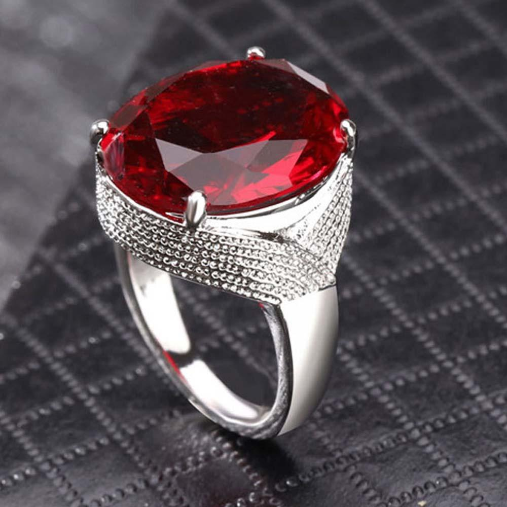 eef11dcf2b6ddf Big Red Stone Luxury Women Rings Silver Color Female Princess Ring Oval  Fashion Party Jewelry Engagement Wedding Band DDR025 Titanium Rings Ruby  Ring From ...