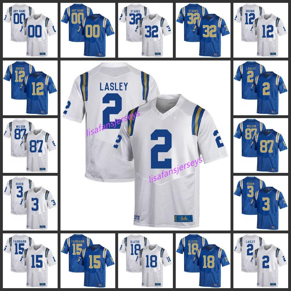 reputable site 5bc58 3f7c5 Mens UCLA Bruins Jerseys 32 Jalen Starks 12 Jayon Brown 2 Lasley 87 Wilson  Custom stitched College Football NCAA Jersey