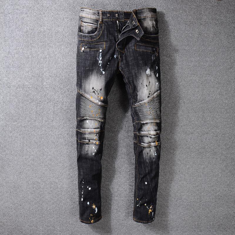 4f68bd277c239 Heat Pin Hole Man Biker Jeans Black Stripe Printing Wind Elastic ...