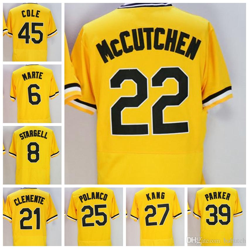 e2861b15f4b 2019 6 Starling Marte 8 Willie Stargell 21 Roberto Clemente 25 Gregory  Polanco 27 Jung Ho Kang 39 Dave Parker 45 Gerrit Cole Baseball Jerseys From  Babutch