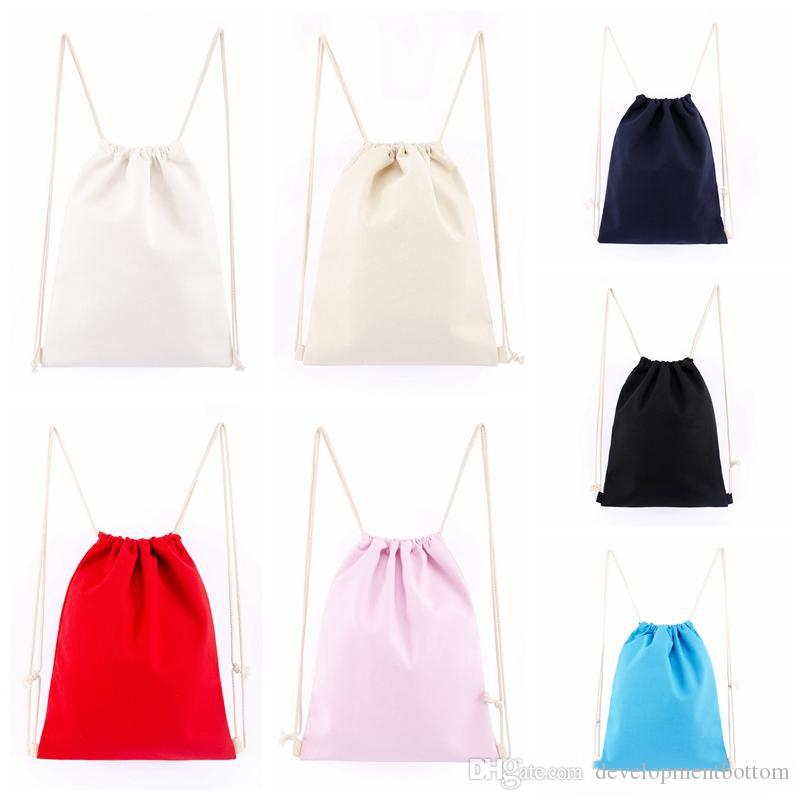 14 Colors Canvas Drawstring Backpack Canvas Rope Pulling Storage Bags Blank Drawstring Bag Factory Direct Sale 35x42cm
