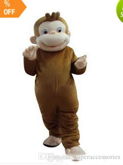 2019Curious George Monkey Mascot Costumes Cartoon Fancy Dress Halloween Party Costume Adult Size Free Shipping