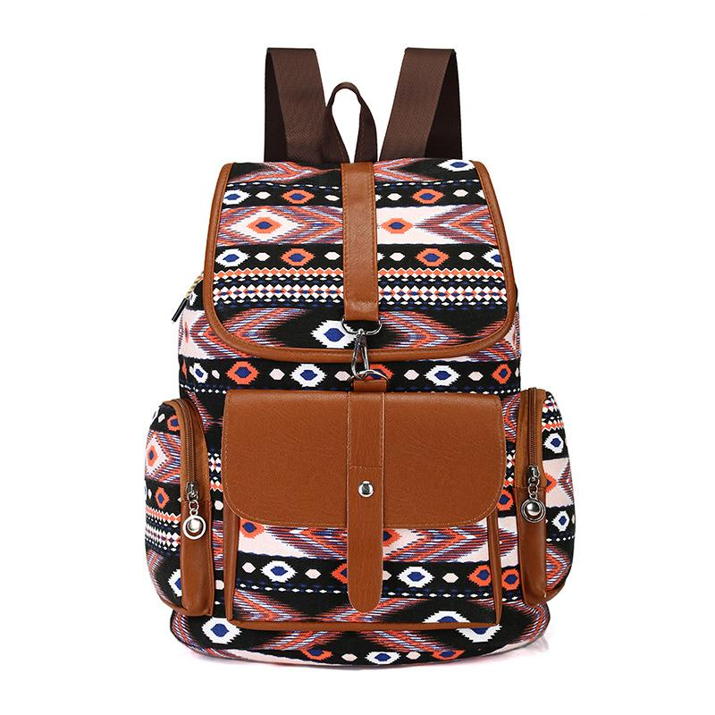 c57bd26d7888 Fashion Women S Canvas Multicolor Pattern Soft Material Backpack Trend  Classic Retro Design Travel Shopping Large Backpack Mens Backpacks Swiss  Army ...