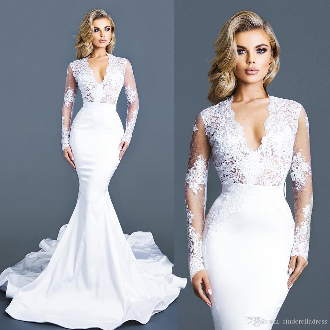 2020 Glamorous V-neck Slim Long Sleeves Lace Mermaid Wedding Dresses Trumpet Train Custom Made Cheap Wedding Bridal Gowns
