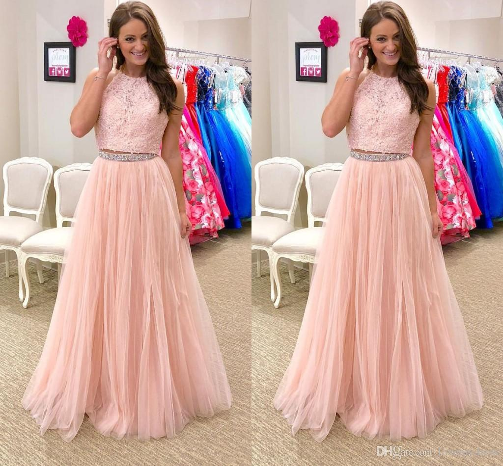 a3d845c04b08 Light Pink Lace Prom Dresses Jewel Open Back Beaded Crystal Draped Tulle  Skirt Dresses Evening Wear Elegant Formal Dress Plus Size Prom Dresses From  China ...