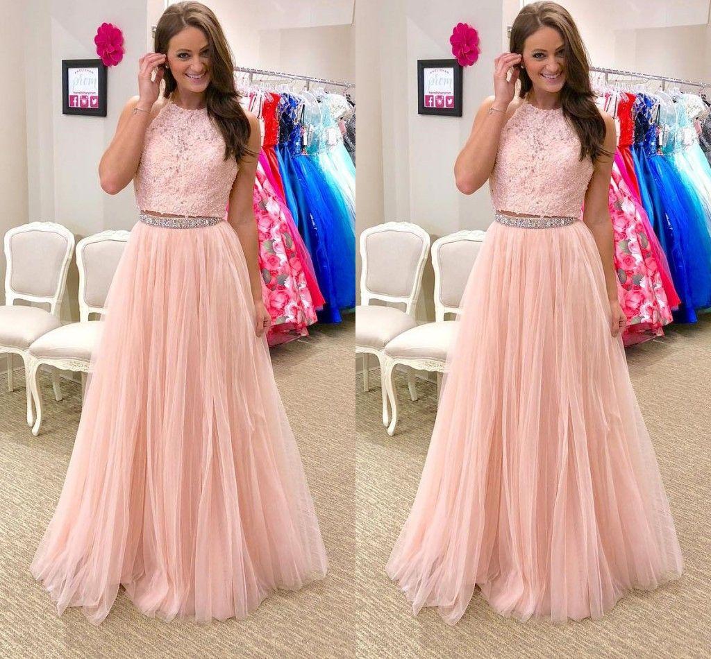 fc769535a Compre Vestidos De Fiesta De Encaje De Color Rosa Claro Joyas De 2 Piezas  Con Espalda Abierta Cristal Con Cuentas Vestido De Falda De Tul Vestido De  Noche ...
