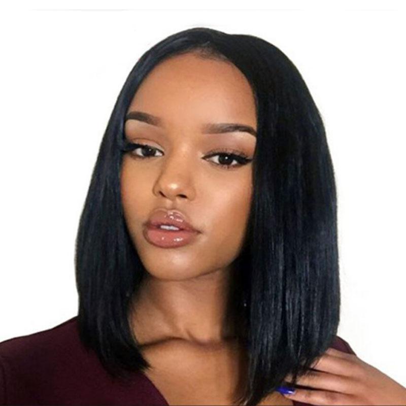 8d7333e38 Moda corta Bob Peluca negra para mujeres con flequillo peluca sintética  recta Productos para el cabello de las mujeres Moda peluca cosplay natural  ...