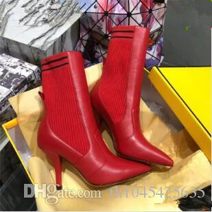 Rockoko Elastic Woman Leather Ankle Boots Short Long Botas Sexy Womens Black Red Brown Over The Knee Boots Dress Wedding Shoes Zapatos Mujer