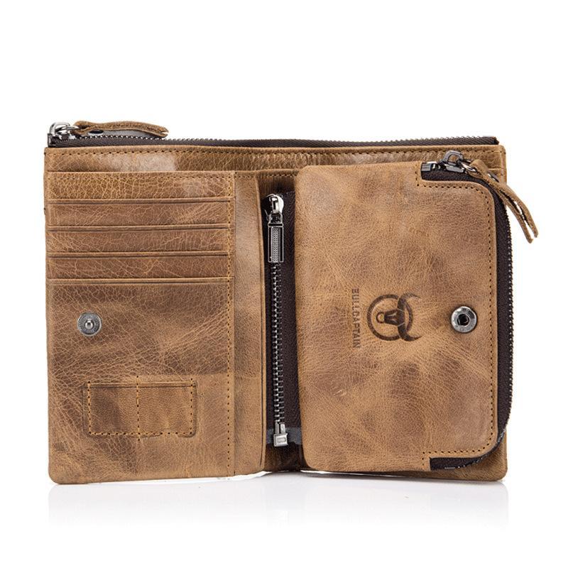 design di qualità 1c11f f6bcd Portafoglio uomo in vera pelle portafogli staccabile portafogli vintage  hasp da uomo con portamonete e portamonete di lusso con cerniera per uomo