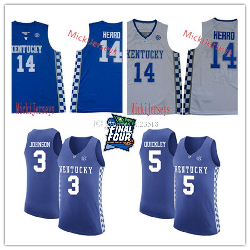 huge selection of 611d1 2721b Mens #14 Tyler Herro Kentucky Wildcats Basketball Jersey Stitched #3 Keldon  Johnson #5 Immanuel Quickley Kentucky Wildcats Jersey