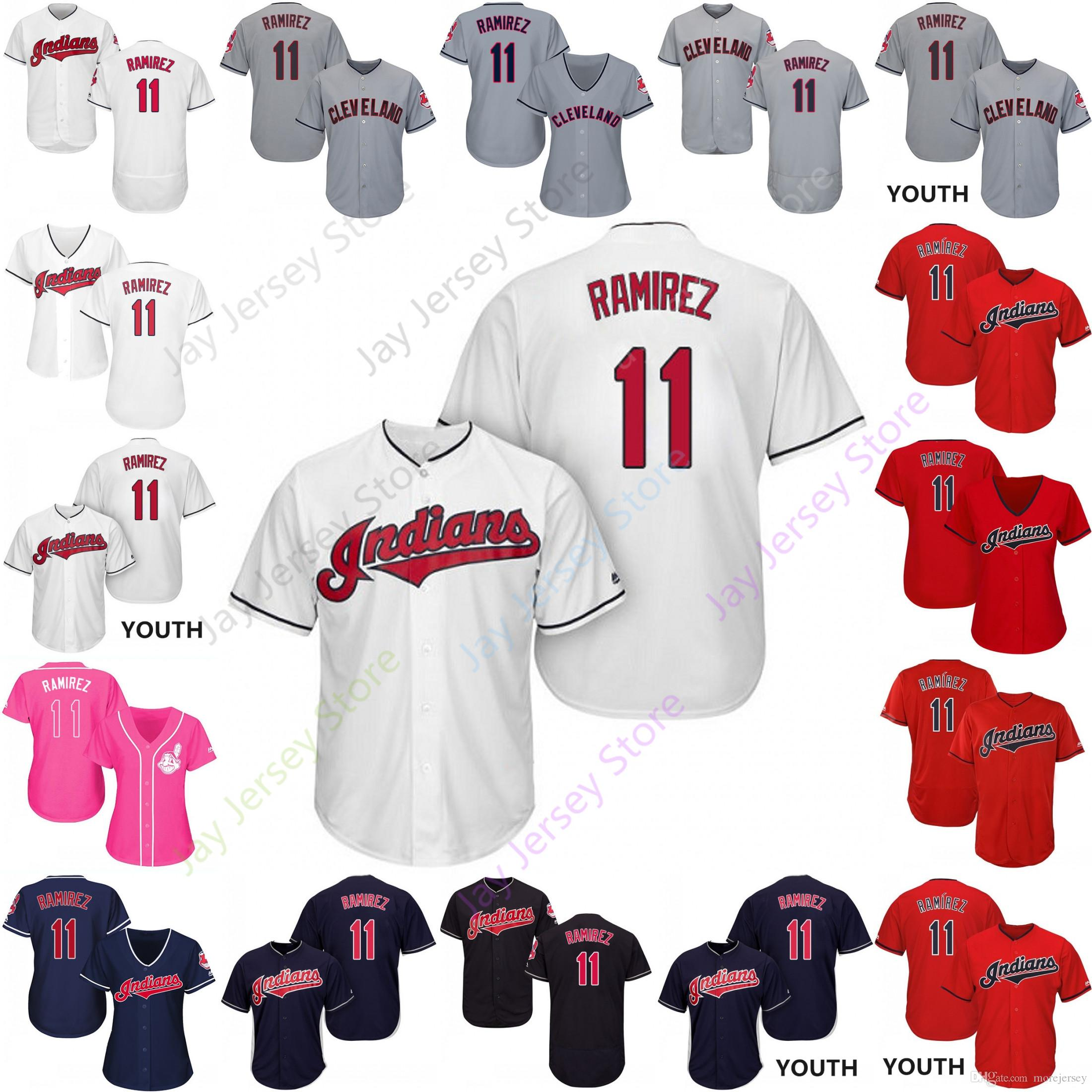 best website 65201 687c2 2019 Cleveland 11 Jose Ramirez Jersey Indians Jerseys Cool Base Flexbase  Home Away White Black Red Grey Pullover Button Men Women Youth
