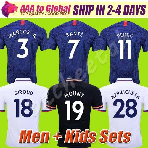 Best thai PULISIC KANTE ABRAHAM MOUNT LAMPARD soccer jerseys 2020 Camiseta de football kits shirt 19 20 MEN KIDS SETS shorts sleeve
