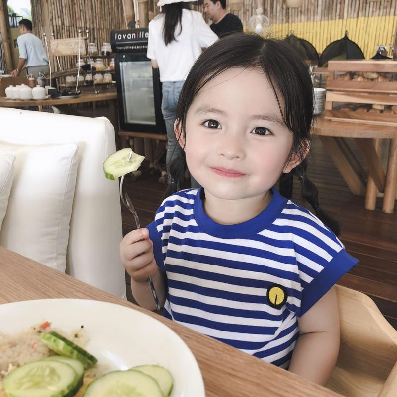 24d764d88c10 2019 INS Dresses For Baby Girl 2018 Spring Fall Blue White Striped ...
