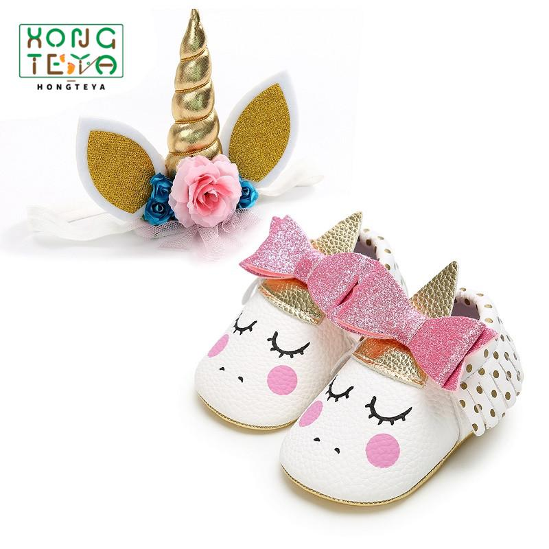 ad8621b032 2019 Party Unicorn Horns Headband +Baby Girl Tassel Soft Bottom Shoes PU  Leather Cute Blush Angel Toddler Moccasins Prewalkers