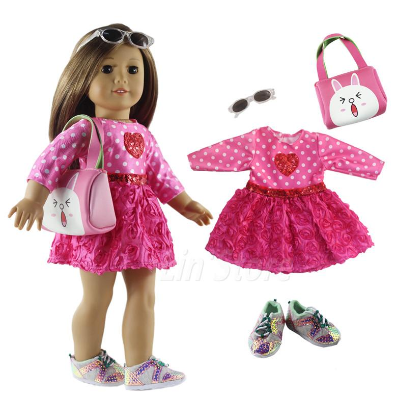 1 Set Doll Clothes Outfit Clothes Shoes For 18 Inch American Girl Doll Many Style For Choice A17