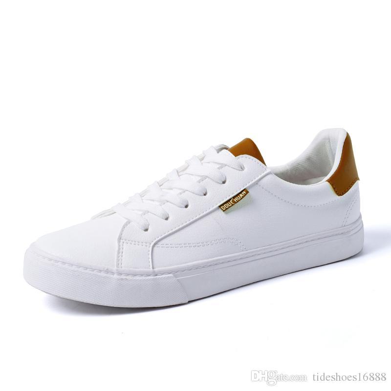 Compre Nuevo 2019 Zapatos De Moda Para Hombre Zapatillas De Deporte Blancas  Low Top Suave Cómodos Zapatos Casuales Para Hombre Marca De Moda Blanco Con  ... 6953145293b